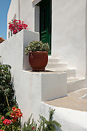 Potted plants and an old door in Artemonas, Sifnos, The Cyclades, Greek Islands, Greece, Europe