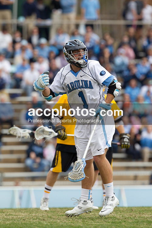 CHAPEL HILL, NC - MARCH 05: Marcus Holman #1 of the North Carolina Tar Heels while playing the UMBC Golden Retrievers on March 05, 2011 at Fetzer Field in Chapel Hill, North Carolina. North Carolina won 13-9.