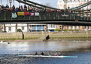 Hammersmith, GREAT BRITAIN,   St Paul's School, pass under Hammersmith Bridge in the JWM 4+, during the 2008 School Head of the River Race,  04/03/2008  2008. [Mandatory Credit, Peter Spurrier/Intersport-images] Rowing Course: River Thames, Championship course, Putney to Mortlake 4.25 Miles, Hammersmith Bridge