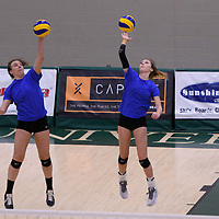 2nd year right-side hitter Halley Wagar (11) of the Regina Cougars in action during Women's Volleyball home game on January 21 at Centre for Kinesiology, Health and Sport. Credit: Arthur Ward/Arthur Images