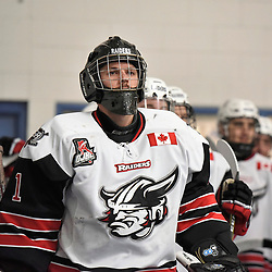 GEORGETOWN, ON - JANUARY 5: Carson Poulin #1 of the Georgetown Raiders on January 5, 2019 at Gordon Alcott Memorial Arena in Georgetown, Ontario, Canada.<br /> (Photo by Ken Lamb / OJHL Images)