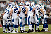 The Indianapolis Colts huddle while trying to call a play that scores some points during the NFL week 13 regular season football game against the Jacksonville Jaguars on Sunday, Dec. 2, 2018 in Jacksonville, Fla. The Jaguars won the game in a 6-0 shutout. (©Paul Anthony Spinelli)