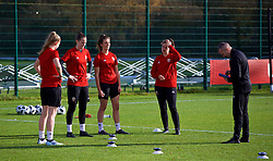 NEWPORT, WALES - Tuesday, November 6, 2018: Wales' goalkeeping coach Jon Horton with goalkeepers Emma Gibbon, Laura O'Sullivan, Olivia Clarke and Claire Skinner during a training session at Dragon Park ahead of two games against Portugal. (Pic by Paul Greenwood/Propaganda)