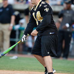 Apr 28, 2010; Metairie, LA, USA; Heath Evans (44) at bat during the Heath Evans Foundation charity softball game featuring teammates of the Super Bowl XLIV Champion New Orleans Saints at Zephyrs Field.  Mandatory Credit: Derick E. Hingle-US-PRESSWIRE.