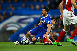 Diego Costa of Chelsea is tackled by Fabio of Middlesbrough - Mandatory by-line: Jason Brown/JMP - 08/05/17 - FOOTBALL - Stamford Bridge - London, England - Chelsea v Middlesbrough - Premier League
