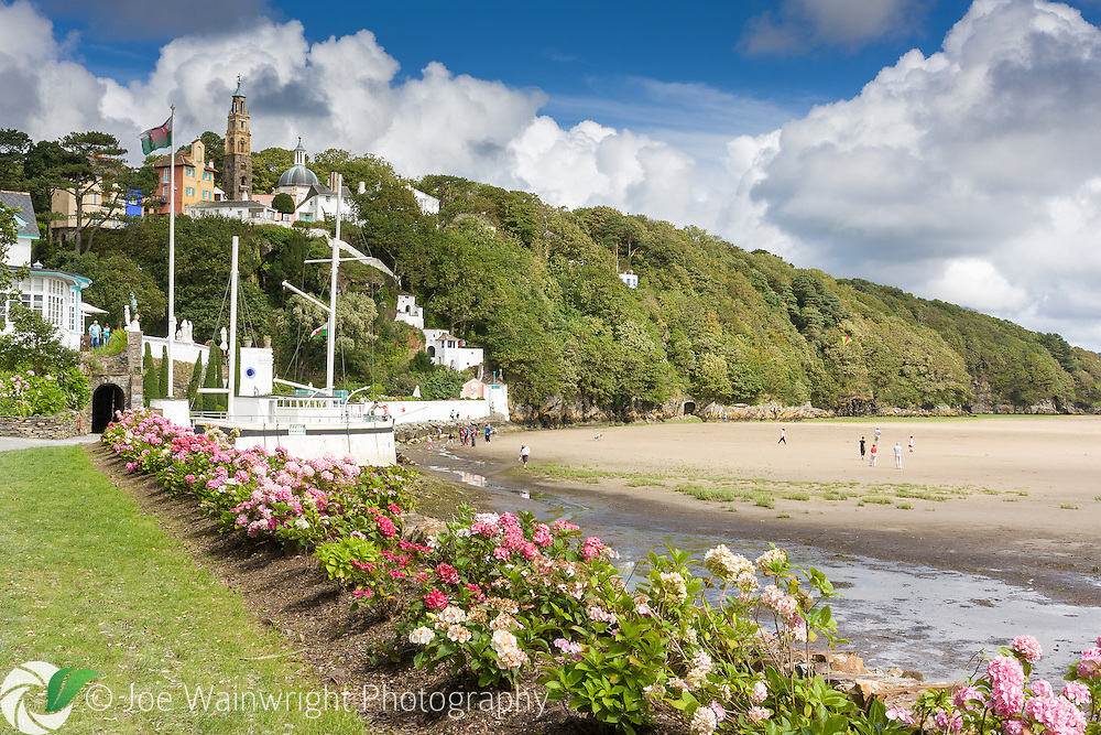 The Italianate village of Portmeirion, Gwynedd, is located on the estuary of the Dwyryd.  At low tide, wide expanses of sand are revealed.