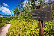 Iceberg Lake trail sign, Many Glacier, Glacier National Park, Montana USA