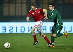 Jon Dahl Tomasson (9) of Denmark tussels for the ball with Mirnes Sisic of Slovenia during the UEFA Friendly match between national teams of Slovenia and Denmark at the Stadium on February 6, 2008 in Nova Gorica, Slovenia.  Slovenia lost 2:1. (Photo by Vid Ponikvar / Sportal Images).