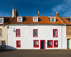 View of traditional old house at St Monans on East Neuk of Fife in Scotland, United Kingdom.
