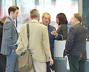 Andrew Marr Show arrivals <br /> at BBC Broadcasting House, London, Great Britain <br /> 18th September 2016 <br /> <br /> <br /> <br /> <br /> Nigel Farage MEP <br /> ex-leader of UKIP <br /> arriving to read the papers on the Marr show <br /> with Gawain Towler - UKIP Head of press <br /> to find Michael Crick - Channel 4 news political correspondent in BBC reception about to review the papers on the radio <br /> <br /> Photograph by Elliott Franks <br /> Image licensed to Elliott Franks Photography Services