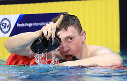 Max Litchfield celebrates winning the Men's Open 400m Individual Medley Final during day three of the 2017 British Swimming Championships at Ponds Forge, Sheffield.