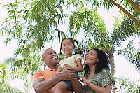 Parents with daughter (5-6 years) in tropical forest low angle view portrait