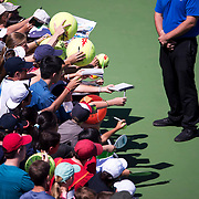 August 30, 2017 - New York, NY : Fans wait for autographs from Grigor Dimitrov, not visibe, after he defeated Vaclav Safranek, not visible, in the Grandstand on the third day of the U.S. Open, at the USTA Billie Jean King National Tennis Center in Queens, New York, on Wednesday. <br /> CREDIT : Karsten Moran for The New York Times