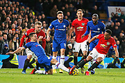 Chelsea defender Cesar Azpilicueta, Chelsea forward Olivier Giroud, Chelsea defender Antonio Rudiger, Manchester United forward Anthony Martial, Manchester United defender Luke Shaw and Manchester United midfielder Nemanja Matic compete for the ball during the Premier League match between Chelsea and Manchester United at Stamford Bridge, London, England on 17 February 2020.