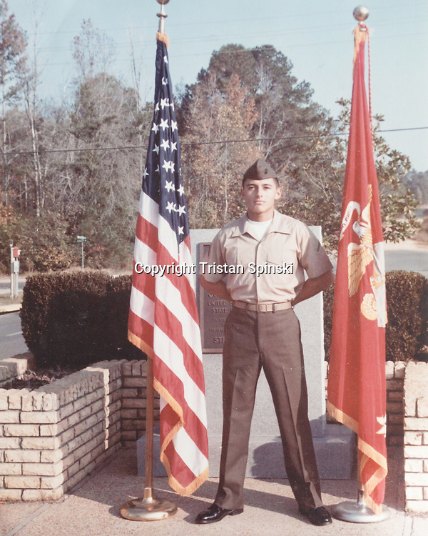 Photograph of Tiffany Martinez's father, Donald Martinez, while serving in the U.S. Marine Corps in 1980. Tiffany's father suffers from schizophrenia, and is homeless in Fresno, California. Several years ago Tiffany began exhibiting symptoms of schizophrenia — hearing voices, having hallucinations, anxiety and withdrawal. She has since suppressed her symptoms with a brief cycle of anti-psychotic medications, which she no longer requires, therapy, stress reduction, and changes in diet and exercise.