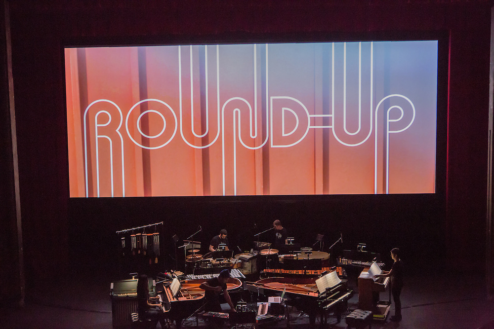 Brooklyn, NY - 20 January 2015. The dress rehearsal of Sufjan Stevens' Round-Up, with slow motion film of the Pendleton, Oregon Round-Up by Aaron and Alex Craig, music performd by Sufjan Stevens and Yarn/Wire. Musicians (L to R) Ning Yu (piano), Russell Greenberg, Sufjan Stevens (in the blue cap), Ian Antonio, Laura Barger (piano).