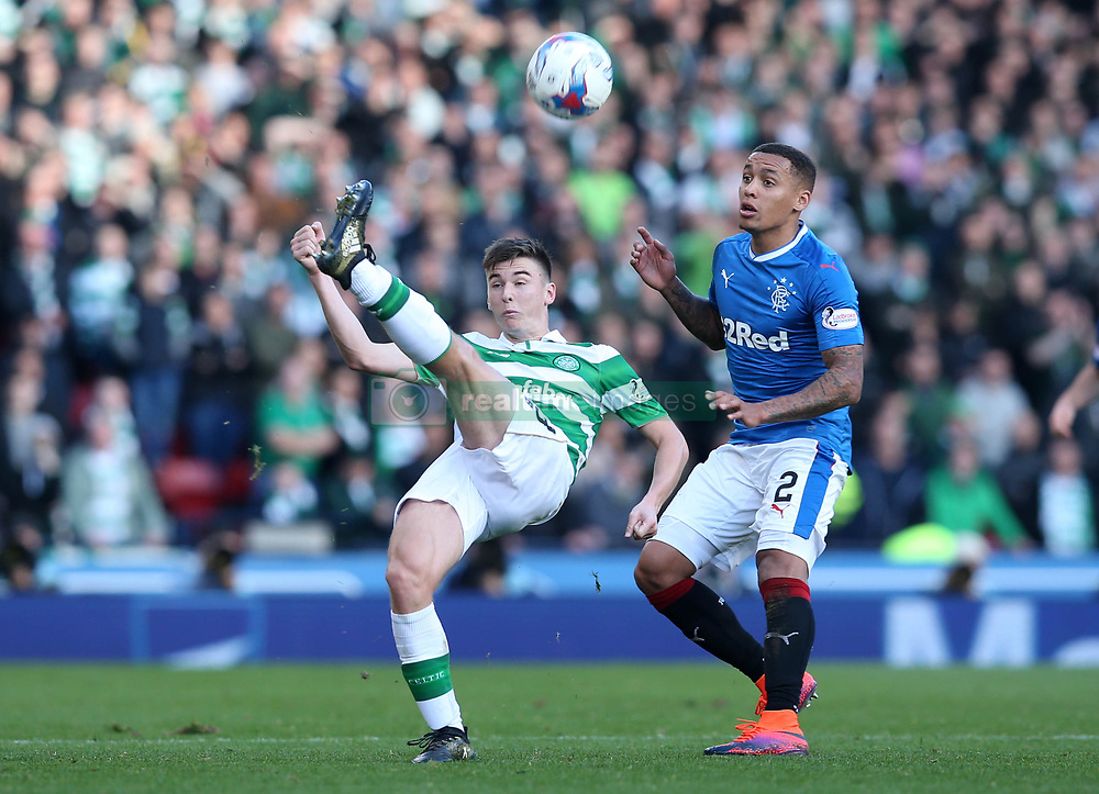 Celtic's Kieran Tierney (left) and Rangers' James Tavernierz battle for the ball during the Betfred Cup, Semi Final match at Hampden Park, Glasgow.