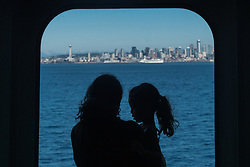 United States, Washington, Seattle, mother and child on ferry