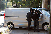 © Licensed to London News Pictures. 05/10/2014. Brentford, UK. A private ambulance arrives to collect the body.  Police remove the body of Arnis Zalkains from Boston Manor Park today 5th October 2014. The body of a man, believed to be Latvian killer Arnis Zalkalns, was found in Boston Manor Park, Brentford, almost six weeks after the schoolgirl Alice Gross vanished. Arnis Zalkalns was prime suspect in the murder of 14-year-old Alice Gross.. Photo credit : Stephen Simpson/LNP