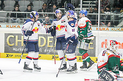 20.02.2015, Curt-Frenzel-Stadion, Augsburg, GER, DEL, Augsburger Panther vs EHC Red Bull München, 49. Runde, im Bild l-r: Torjubel von Tim Bender #55 (EHC Red Bull Muenchen), Daryl Boyle #6 (EHC Red Bull Muenchen), Alexander Barta #92 (EHC Red Bull Muenchen) // during Germans DEL Icehockey League 49th round match between Adler Mannheim and Grizzly Adams Wolfsburg at the Curt-Frenzel-Stadion in Augsburg, Germany on 2015/02/20. EXPA Pictures © 2015, PhotoCredit: EXPA/ Eibner-Pressefoto/ Kolbert<br /> <br /> *****ATTENTION - OUT of GER*****