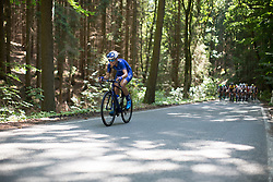 Tayler Wiles (USA) of UnitedHealthcare Cycling Team attacks on the climb leading to Moschlitz on  Stage 1 of the Lotto Thuringen Ladies Tour - a 124.8 km road race, starting and finishing in Schleiz on July 13, 2017, in Thuringen, Germany. (Photo by Balint Hamvas/Velofocus.com)