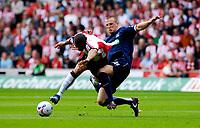 Photo: Alan Crowhurst.<br />Southampton v Southend United. Coca Cola Championship. 06/05/2007. Saints' Leon Best (L) challenges with Peter Clarke.