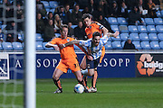 Coventry City midfielder Romain Vincelot (4) goes over in the box during the Sky Bet League 1 match between Coventry City and Colchester United at the Ricoh Arena, Coventry, England on 29 March 2016. Photo by Simon Davies.