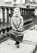 little boy with briefcase on his way to school France ca 1950s