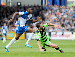 Bristol Rovers' Nathan Blissett and Forest Green Rovers's Aarran Racine in action at the Memorial Stadium. - Photo mandatory by-line: Nizaam Jones /JMP - Mobile: 07966 386802 - 03/05/2015 - SPORT - Football - Bristol - Memorial Stadium - Bristol Rovers v Forest Green Rovers - Vanarama Football Conference.