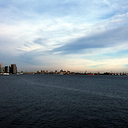Panoramic view of the New York City skyline and the Statue of Liberty taken in April 2002.
