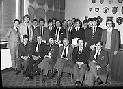 Bartenders Association of Ireland presenting certificates at lunch in Guinness Brewery...1983-02-21.21st February1983.21/02/1983.02-21-83 ..Pictured at Guinness Brewery, St James's Gate, Dublin..Assembly of members who received certificates on successful completion of the BAI examination..Seated from left to right:..First - Andy O'Gorman, College of Marketing.Three - Frank O'Reilly, President of Bartenders Association of Ireland.