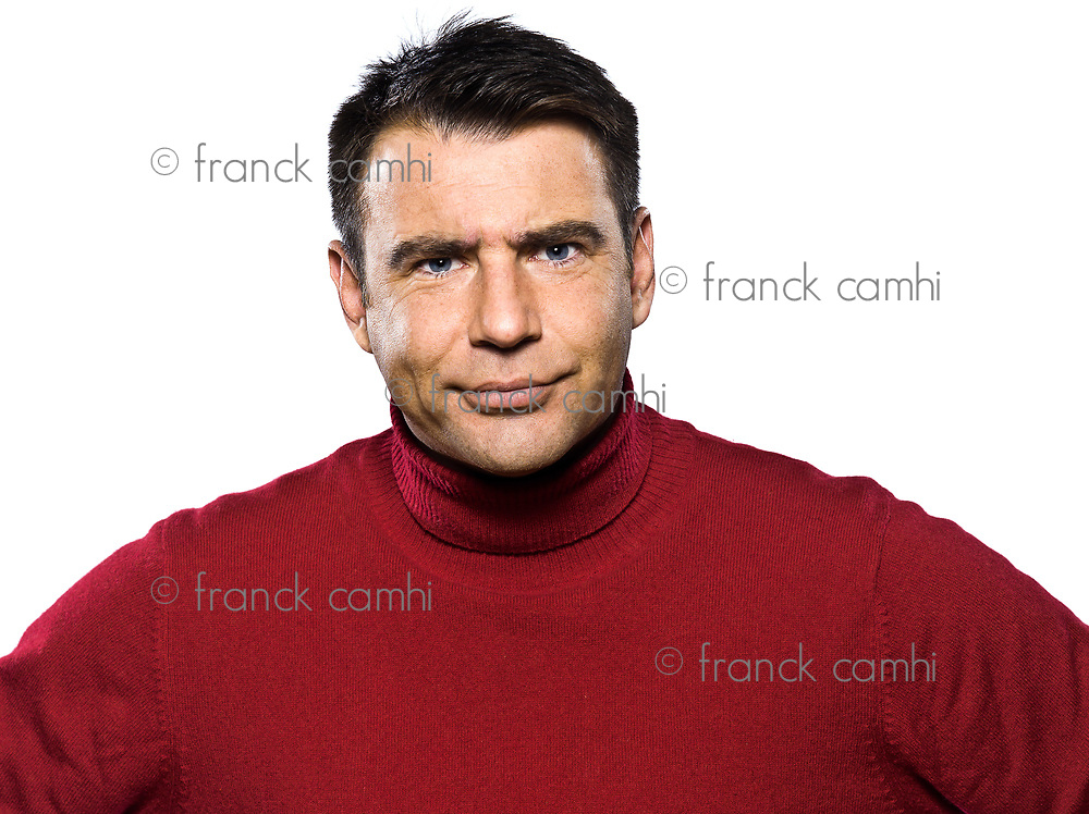 caucasian man portrait anger displeased frown studio portrait on isolated white backgound