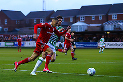 Kayden Jackson of Accrington Stanley goes past Omar Sowunmi of Yeovil Town - Mandatory by-line: Robbie Stephenson/JMP - 17/04/2018 - FOOTBALL - Wham Stadium - Accrington, England - Accrington Stanley v Yeovil Town - Sky Bet League Two