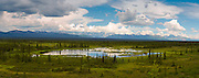 Panoramic view of the Alaska Range, Nenana Mountain and the Nenana Glacier Valley, and Monahan Flat in the foreground.