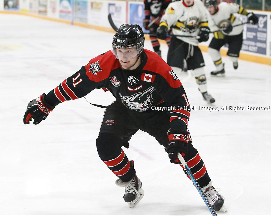 TRENTON, ON  - MAY 5,  2017: Canadian Junior Hockey League, Central Canadian Jr. &quot;A&quot; Championship. The Dudley Hewitt Cup. Game 7 between Georgetown Raiders and the Powassan Voodoos. Keegan Blasby #11 of the Georgetown Raiders skates up the ice during the first period.<br /> (Photo by Tim Bates / OJHL Images)
