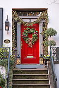 Christmas wreaths on a home in historic Savannah, GA.