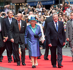 FRANKFURT-GERMANY-24-06-2015- Britain's Queen Elizabeth visits St Pauls Church and Romer in the centre of Frankfurt on her State Visit to Germany.<br /> The Queen walks through Frankfurt with German President  Joachim Gauck<br /> Photograph by Ian Jones