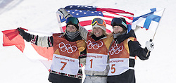 February 12, 2018 - Pyeongchang, South Korea - (L-R) Silver medalist LAURIE BLOUIN of Canada, Gold medalist JAMIE ANDERSON of USA, and Bronze medalist ENNI RUKAJARVI of Finland at the venue victory stand ceremony during Ladies Slopestyle Final at the 2018 Pyeongchang Winter Olympic Games. (Credit Image: © Daniel A. Anderson via ZUMA Wire)