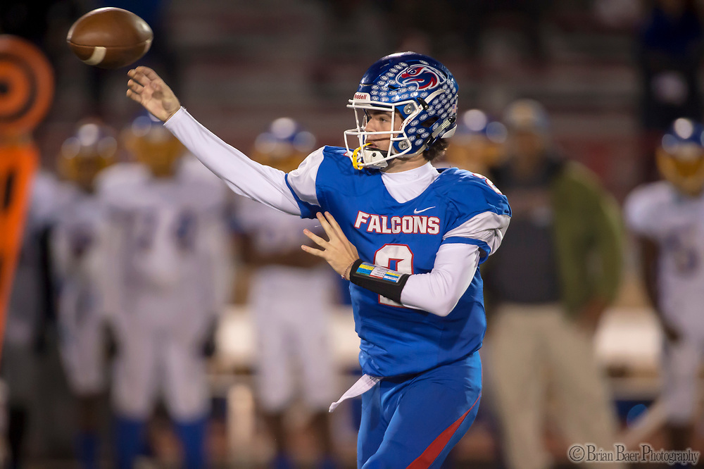 Christian Brothers Falcons Gunnor Faulk, (2), passes the ball as they host the Bencia Panthers in the Sac-Joaquin Section Division III playoff opener at Hughes Stadium, Friday Nov 10, 2017.<br /> photo by Brian Baer