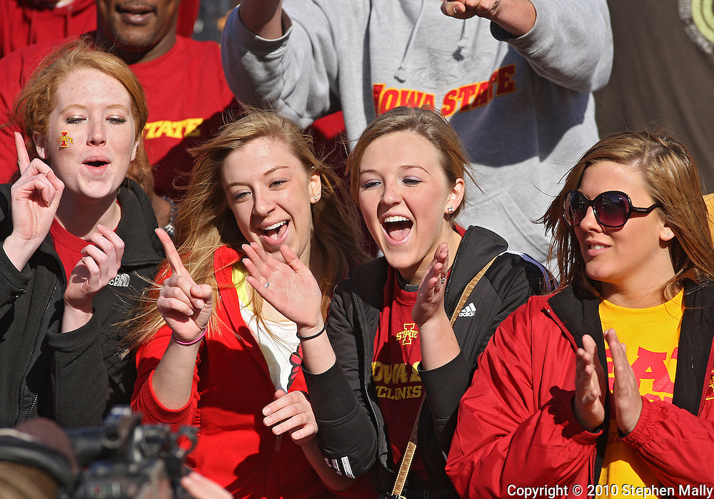 November 06 2010: Iowa State fans cheer during the first half of the NCAA football game between the Nebraska Cornhuskers and the Iowa State Cyclones at Jack Trice Stadium in Ames, Iowa on Saturday November 6, 2010. Nebraska defeated Iowa State 31-30.