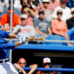 Mar 5, 2013; Dunedin, FL, USA; Toronto Blue Jays third baseman Andy LaRoche (70) hits a solo homerun against the Baltimore Orioles during the bottom of the second inning of a spring training game at Florida Auto Exchange Park. Mandatory Credit: Derick E. Hingle-USA TODAY Sports