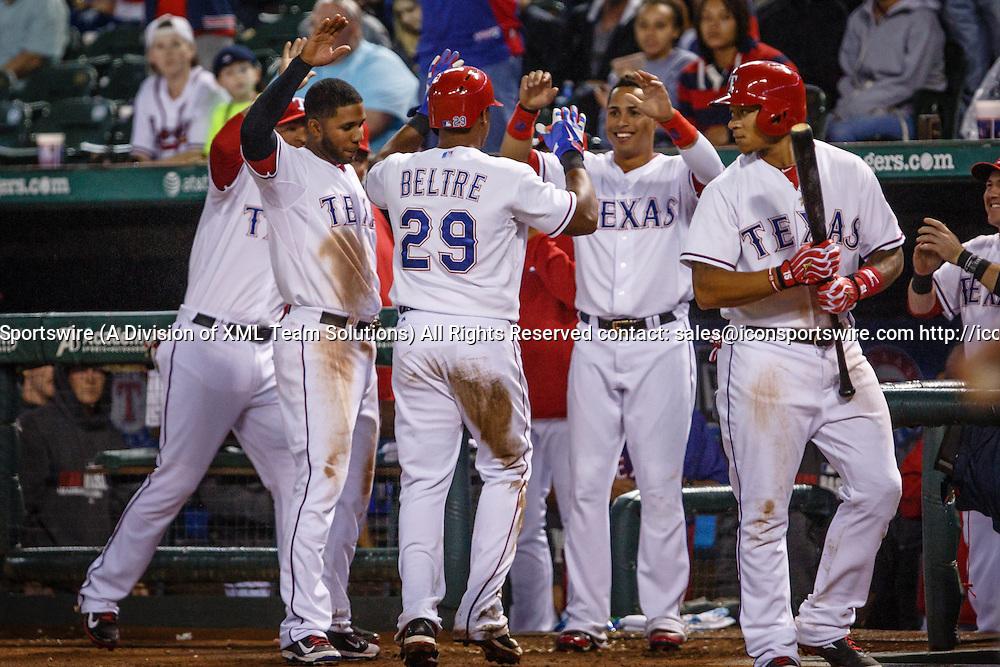 12 SEP 2014: Texas Rangers Third base Adrian Beltre (29) [1597] scores the winning run during the MLB baseball game between the Atlanta Braves and the Texas Rangers at Globe Life Park in Arlington, TX.  Texas defeats Atlanta 2-1.