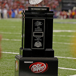 Jan 9, 2012; New Orleans, LA, USA; General view of the coaches trophy during the 2012 BCS National Championship game between the LSU Tigers and the Alabama Crimson Tide at the Mercedes-Benz Superdome.  Mandatory Credit: Derick E. Hingle-US PRESSWIRE
