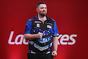 Luke Humphries celebrates his victory over Vincent van der Voort during the Ladrokes UK Open 2019 at Butlins Minehead, Minehead, United Kingdom on 1 March 2019.