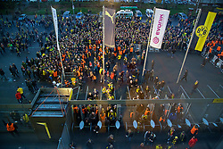 DORTMUND, GERMANY - Thursday, April 7, 2016: Stewards search supporters before they enter the Westfalenstadion ahead of the UEFA Europa League Quarter-Final 1st Leg match against Liverpool. (Pic by David Rawcliffe/Propaganda)