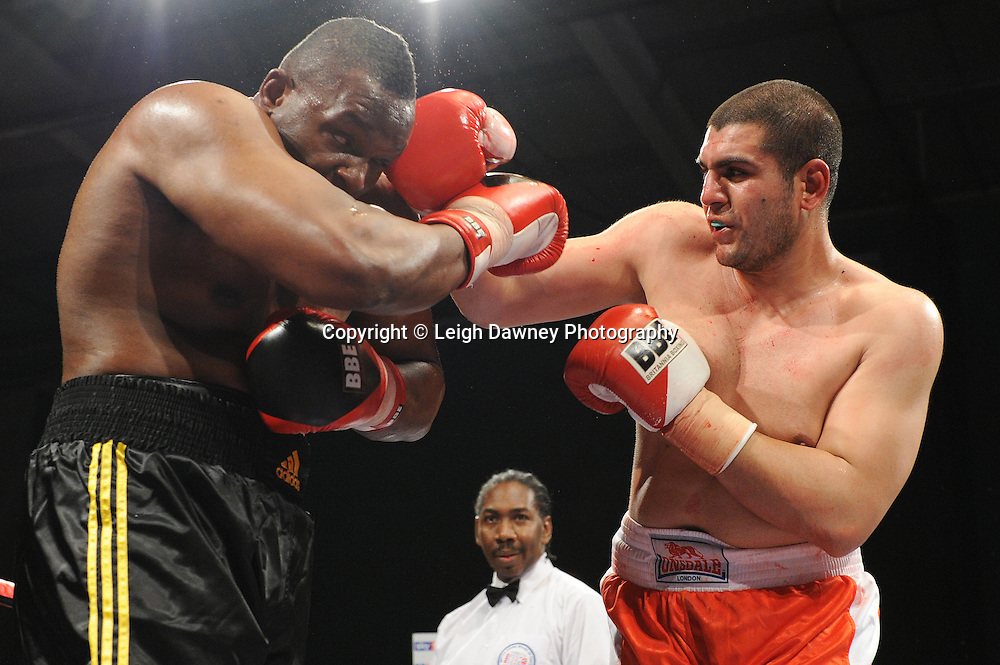 Dillian Whyte (professional debut fight in black shorts) defeats Tayar Mehmed at Medway Park, Gillingham, Kent, UK on 13th May 2011. Frank Maloney Promotions. Photo credit © Leigh Dawney 2011.