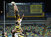 Wellington's Victor Vito takes lineout ball. ITM Cup Premiership rugby match - Taranaki v Welllington Lions at Yarrow Stadium, New Plymouth, New Zealand on Saturday 16 July 2011. Photo: Dave Lintott / photosport.co.nz