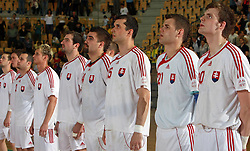 Team Slovakia before the handball game between men national teams of Slovenia and Slovakia, first qualification game for the World Chamionship 2009, on June 7, 2008, in Arena Zlatorog, Celje, Slovenija. Result: 33 : 33. (Photo by Vid Ponikvar / Sportal Images)