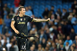 Mario Mandzukic of Juventus celebrates after the UEFA Champions League group stage match between Manchester City and Juventus at the Etihad Stadium - Mandatory byline: Matt McNulty/JMP - 07966386802 - 15/09/2015 - FOOTBALL - Etihad Stadium -Manchester,England - Manchester City v Juventus - UEFA Champions League - Group D