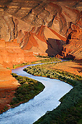 Looking down the San Juan River towards the Raplee Anticline near Mexican Hat, Utah.